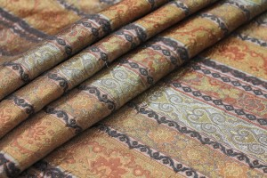 Patterned Stripe Brocade - Rust/Grey/Brown