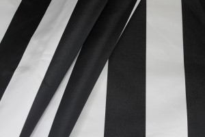 Silk Duchesse Satin - Black and White Stripe