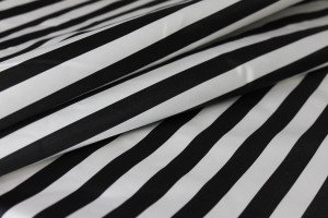 Silk Duchesse Satin - Black and White Narrow Stripe
