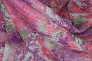 Floral Printed Sequin On Stretch Tulle