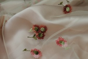 Floral Embroidered Tulle - Amber and Pinks on Cream
