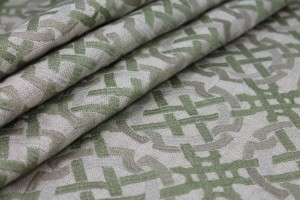 Green and Beige Celtic Knot Embroidered Linen