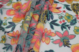 Colourful Floral Embroidered Tulle - Yellow, Green and Pinks on Pale Pink