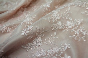 Cute Embroidered Floral Scalloped Tulle - Pale Pink