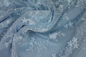 Cute Embroidered Floral Scalloped Tulle - Pale Blue