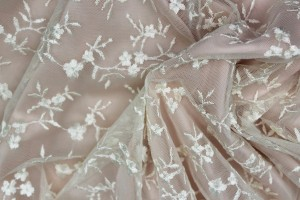 Cute Embroidered Floral Scalloped Tulle - Ivory