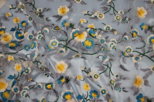 Cream Yellow and Blue Floral Embroidery on Tulle