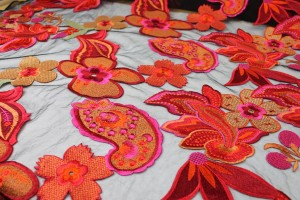 Large Floral and Paisley Embroidery in Pink, Red and Orange on Black Tulle