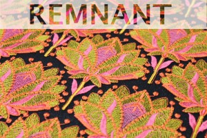REMNANT - Large Floral Embroidery in Pink, Green and Orange on Black Tulle - 0.45m piece