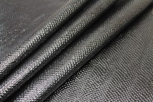 Black Glossy Embossed Snakeskin Leatherette