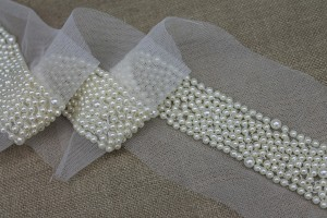 Cream/Ivory Pearl Trim - Narrow