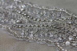 Beaded Diamante Trim in Ivory and Silver