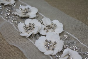 3D Floral Trim with Georgette covered Sequin Petals and Beaded Centre - Ivory/Silver