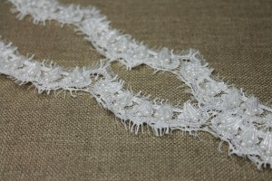 Beaded Scallop Lace Trim - Ivory