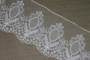 Embroidered Tulle Trim - Ivory