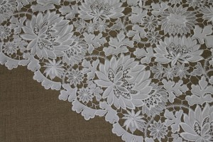 Embroidered Flower Pattern on Ivory Satin