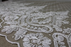Corded Embroidered Lace Pattern on Ivory Spot Tulle