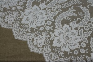 Corded Embroidered Tulle Lace - Ivory