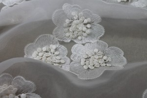 Embroidered Flowers with 3D Centre on Ivory Organza