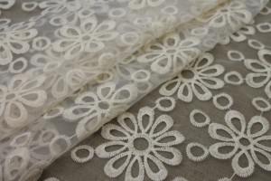 Cream Embroidered Floral Pattern on Ivory Organza