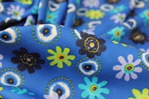Floral Print Jersey - Blues