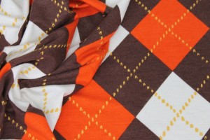 Argyle Check Print Jersey - Orange/Ivory/Brown