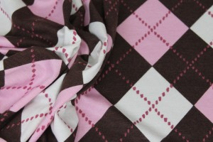 Argyle Check Print Jersey - Pink/Ivory/Brown