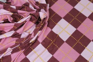 Argyle Check Print Jersey - Pinks