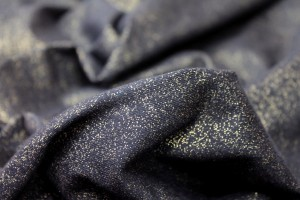 Cotton Jersey - Black with Gold Splatter