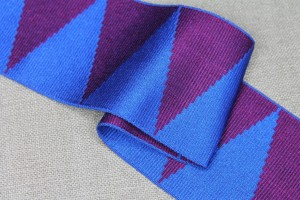Wide Grosgrain Ribbon - Blue and Burgundy Triangles