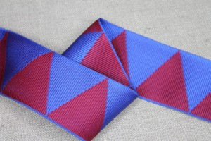 Grosgrain Ribbon - Blue and Burgundy Triangles
