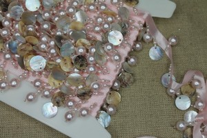 Pale Pink Beaded Pearl & Shell Trim