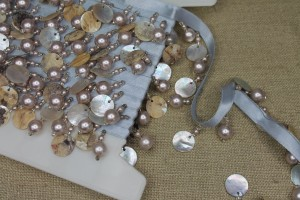 Pale Blue Beaded Pearl & Shell Trim