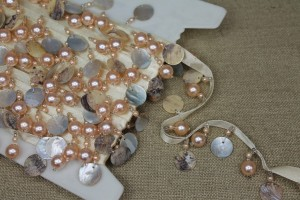 Creamy Gold Beaded Pearl & Shell Trim