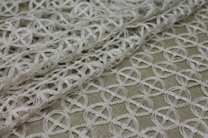 Metallic Guipure Style Lace - Circle and Cross Pattern - Cream / Gold