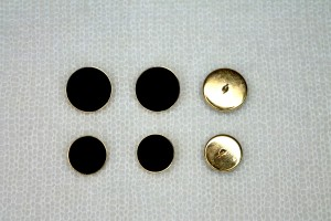 Black Cabouchon Inlay in Gold Metal Shank Button - Large