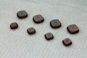 "Square ""Shell"" Resin Inlay Button - Brown - Small"