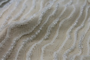 Italian Hand Beaded Lace - Pale Ivory with Pearls and Glass Beads