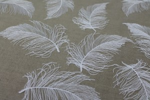 Gradient Feather Embroidery on Tulle - Ivory