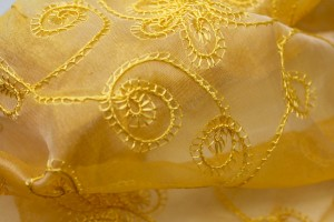 Embroidered Silk Organza - Yellow Small Flowers On Yellow