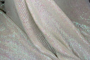Small Oval Iridescent Ivory Sequin On Silk Chiffon