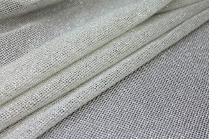 Sparkly Soft Mesh Fabric - Ivory Silver
