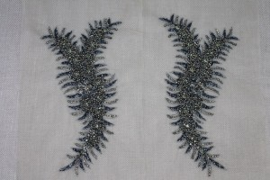 Beaded Diamante Trim or Motif in Anthracite - Pair