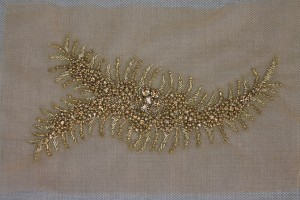 Beaded Diamante Trim or Motif in Gold - Left Side