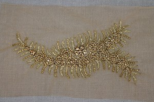 Beaded Diamante Trim or Motif in Gold - Right Side
