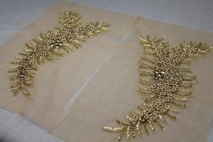 Beaded Diamante Trim or Motif in Gold - Pair