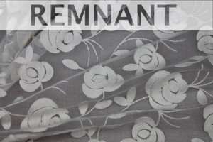 REMNANT - Floral embroidered Tulle - Ivory - 1.1m piece