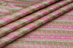 Banaras Brocade - Diagonal Pink & Green Stripe