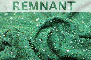 REMNANT - Emerald Green Silk with Green Pearls and Iridescent Sequins - 2.65m piece