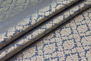 Dark Grey and Gold Ornamental Brocade